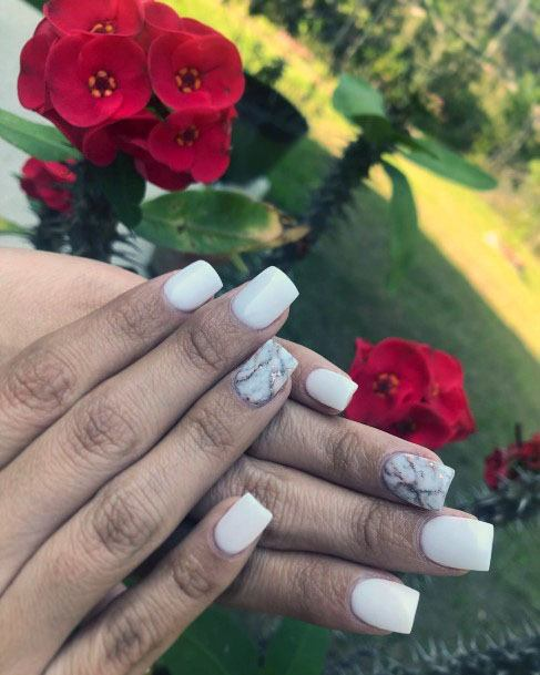 Marble White Gel Nails For Women