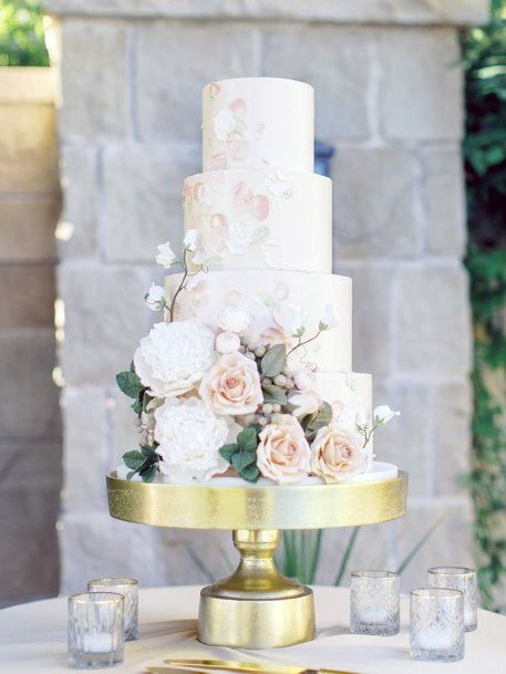 Marble White Wedding Cake With Blush Flowers