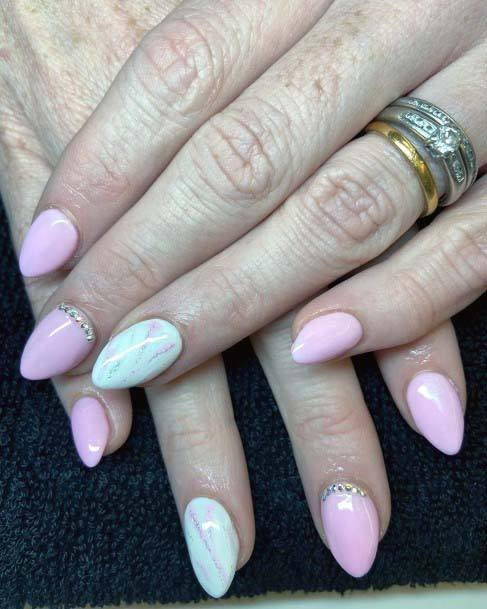 Marbled Light Pink Nails For Females