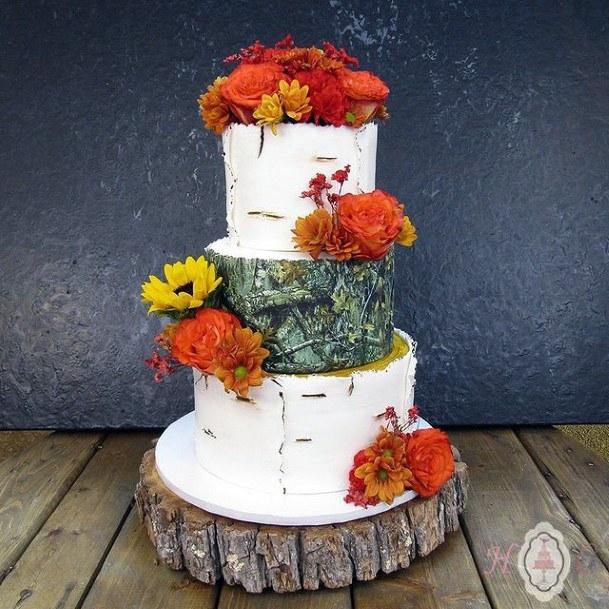 Marigold Camo Wedding Cake