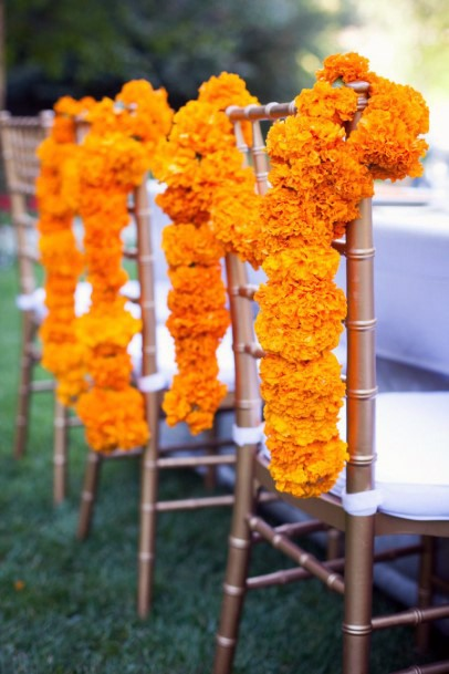 Marigold On Chairs Indian Wedding Flowers