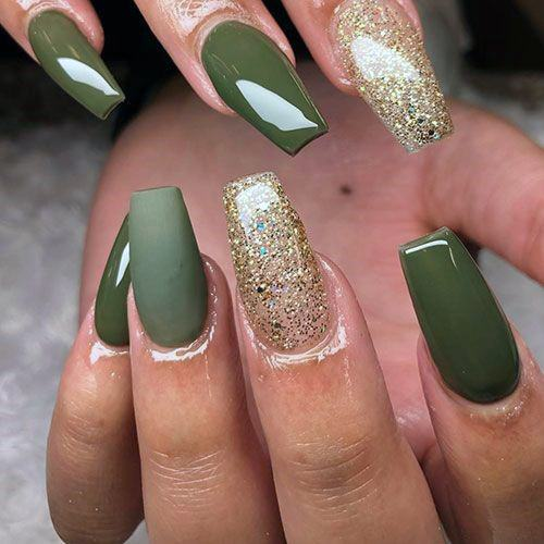 Matte And Glossy Green Nails With Gold Accent Women