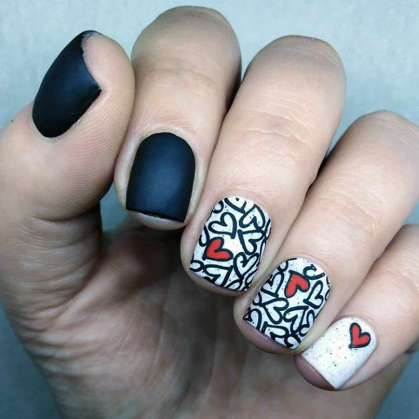 Matte Black And While Red Heart Romantic Nails