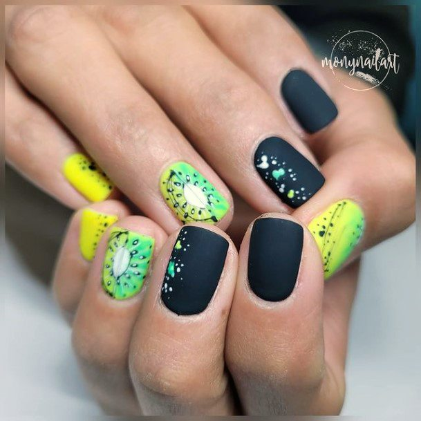 Matte Black Nails Kiwi Women