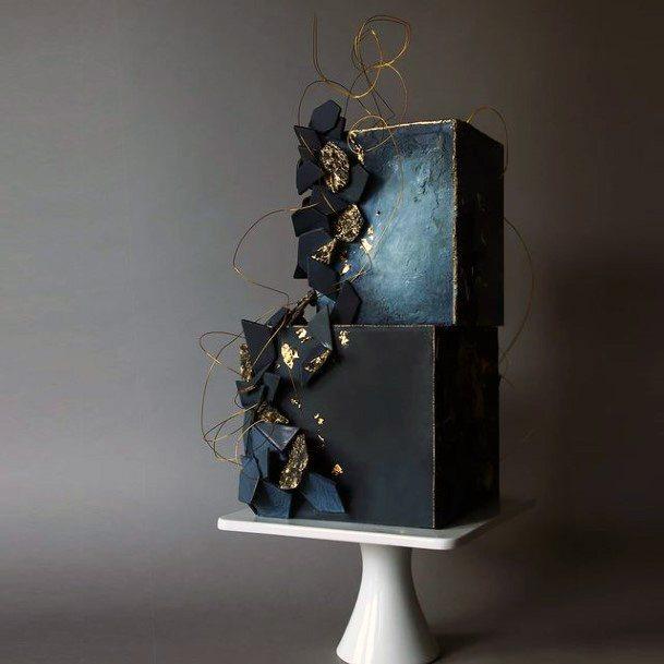 Matte Black Square Wedding Cake