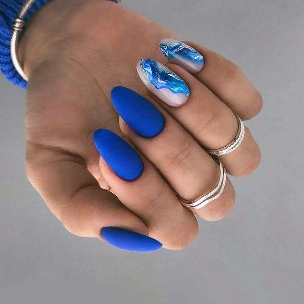 Matte Blue Royal Water Nails Women