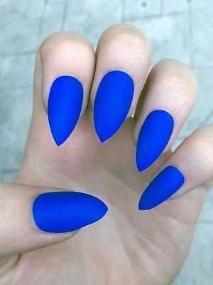Matte Bright Blue Nails For Women