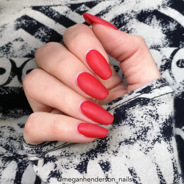 Matte Bright Red Nails For Women