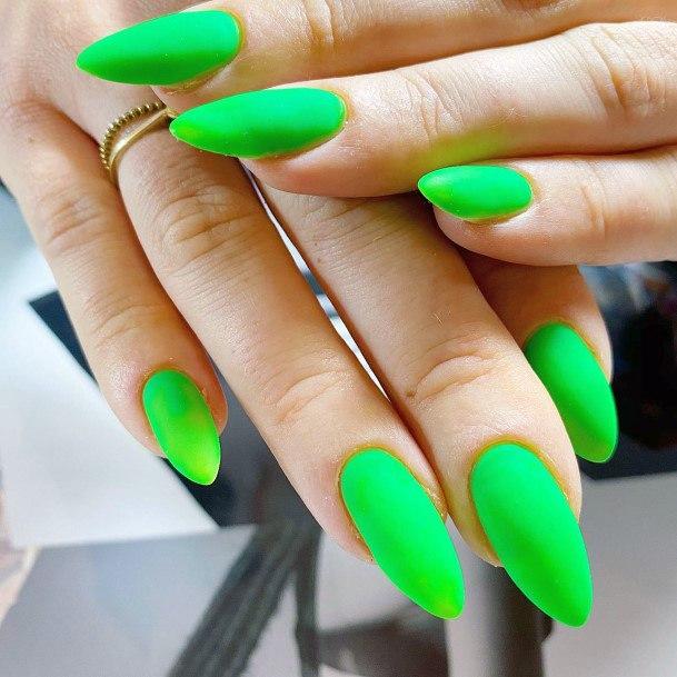 Matte Finish Neon Green Nails