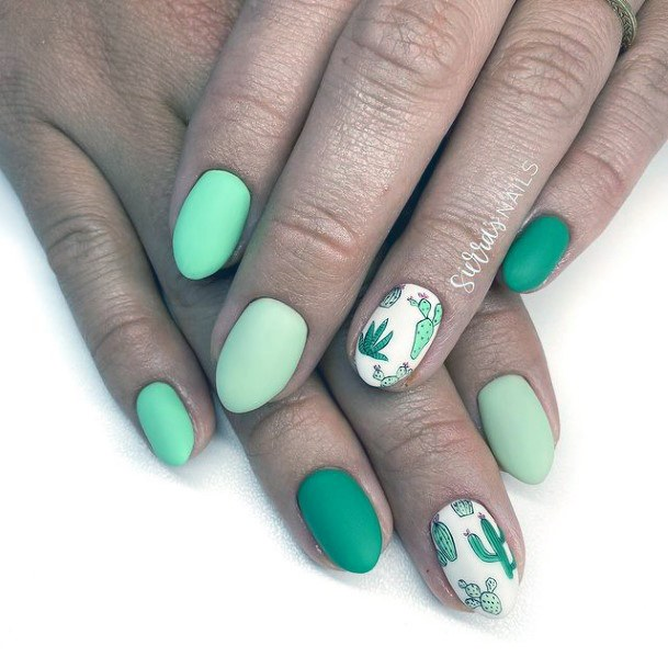 Matte Green Nails Cactus Women