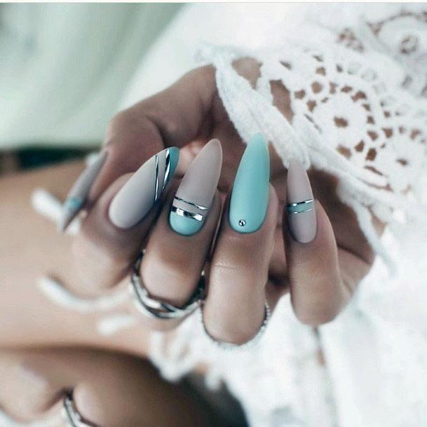 Matte Nails Mint Green For Women