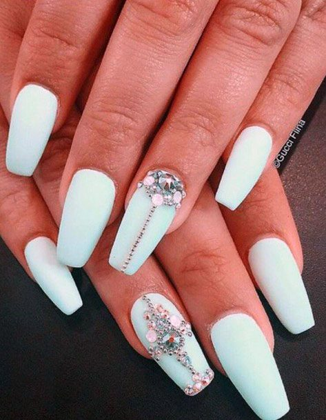 Matte Nails With Crystals For Women Mint Shade