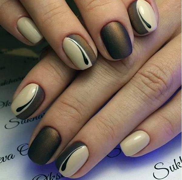 Matte Nut Brown And Cream Nails For Women