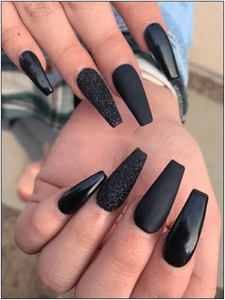 Matte Smooth Grainy Black Nail Idea Women