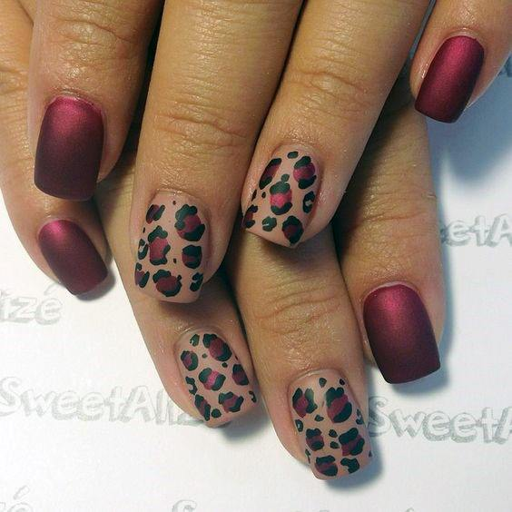 Matte Wine Red And Pink Leopard Nails