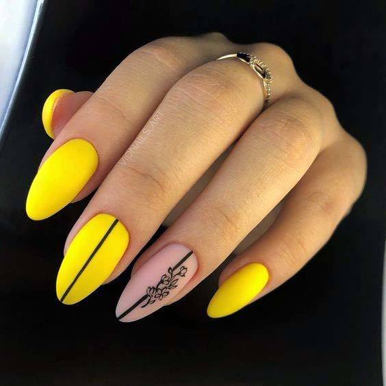 Matte Yellow Nails With Pink Accent For Women