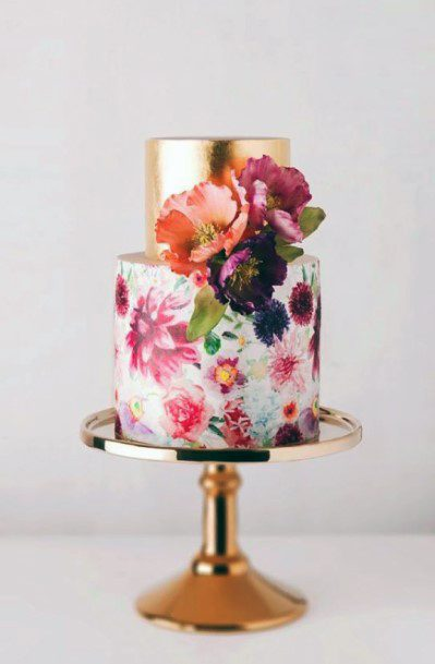 May Wedding Floral Gold Cake