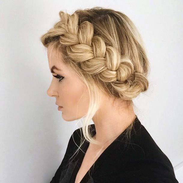 Medium To Light Blonde Hair With Side Thick Braid