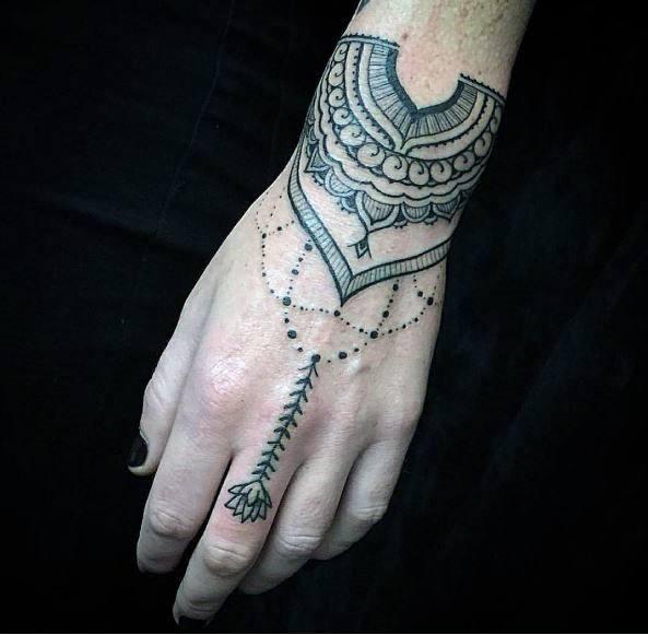 Mehendi Art Tattoo Womens Wrist