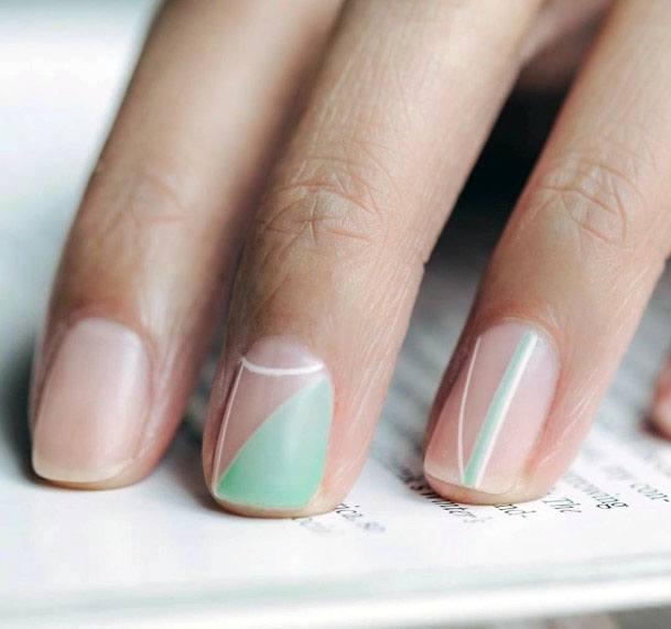 Mellowed Mint Toned Art On Nails Women
