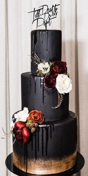 Melting Black Halloween Wedding Cakes