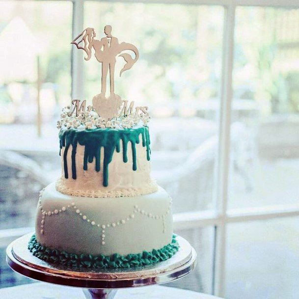 Melting Blue Ice Romantic Beach Wedding Womens Cake