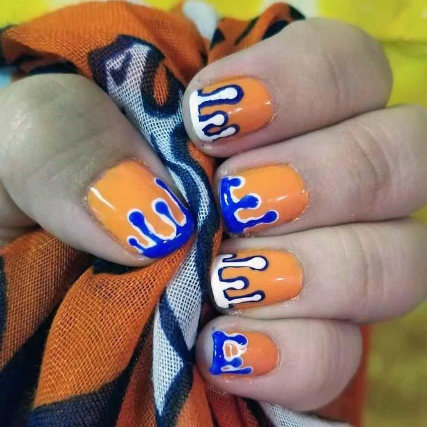 Melting Blue On Orange Nails For Women