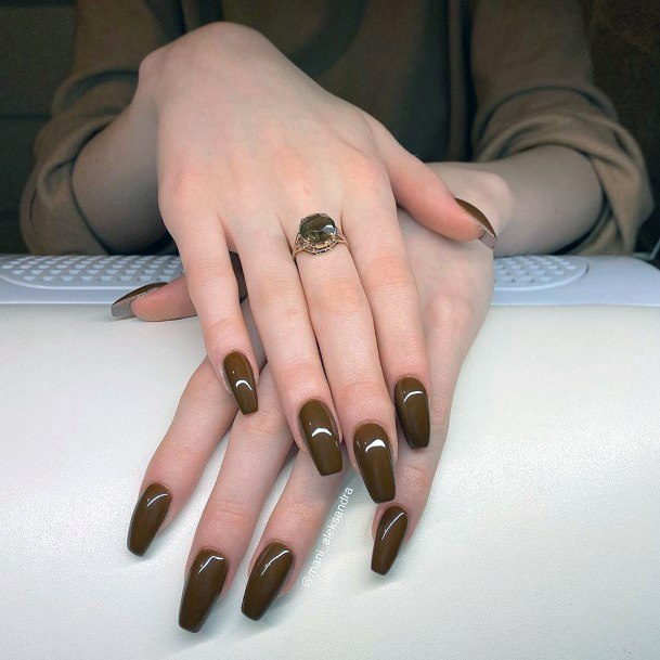 Melting Chocolate Brown Polished Nails Women
