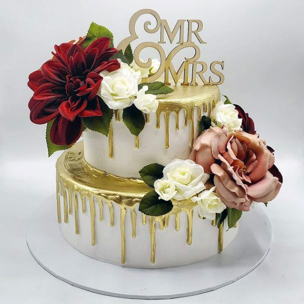 Melting Gold Wedding Cake