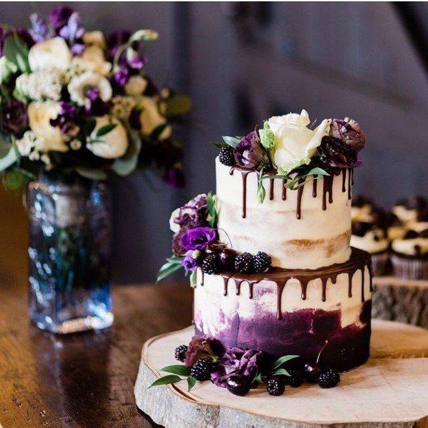 Melting Purple Icing White Wedding Cake