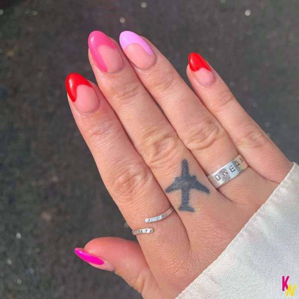 Melting Tips Red And Pink Nails For Women
