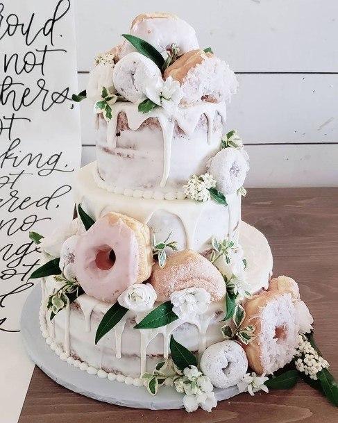 Melting White Donut Wedding Cake