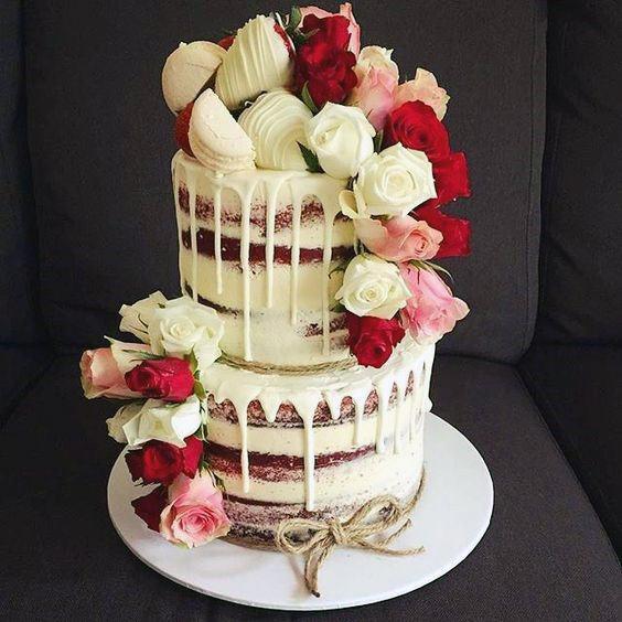 Melting White Icing Red Velvet Wedding Cake