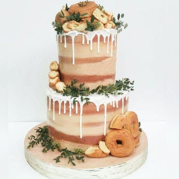 Melting White Icing Wedding Cake And Donut