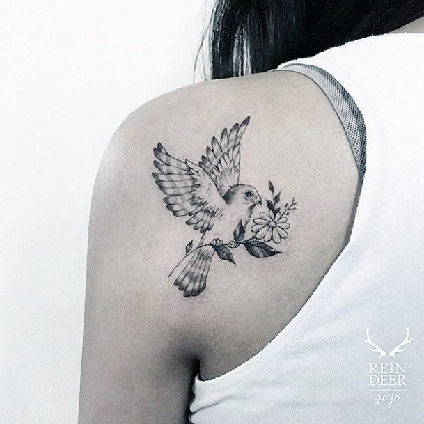 Messenger Dove With Floral Tattoo Womens Back