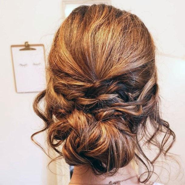 Messy Auburn Chignon Women Hairstyle