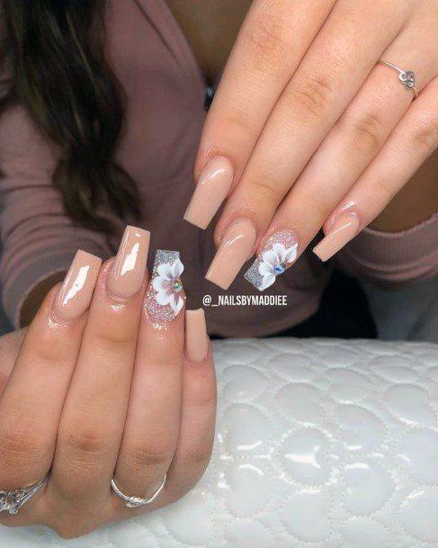 Metallic 3d Flowers Nails
