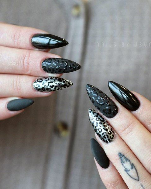 Metallic Black And Gold Leopard Nails