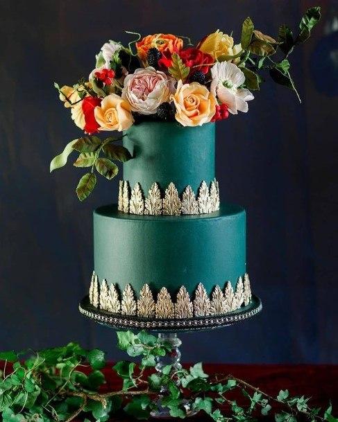 Metallic Blue Beautiful Wedding Cake