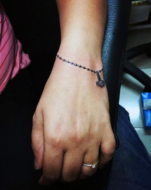 Metallic Bracelet With Pendant Tattoo Womens Wrists