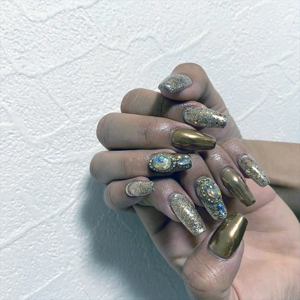 Metallic Brown Nails With Rhinestones Art Women
