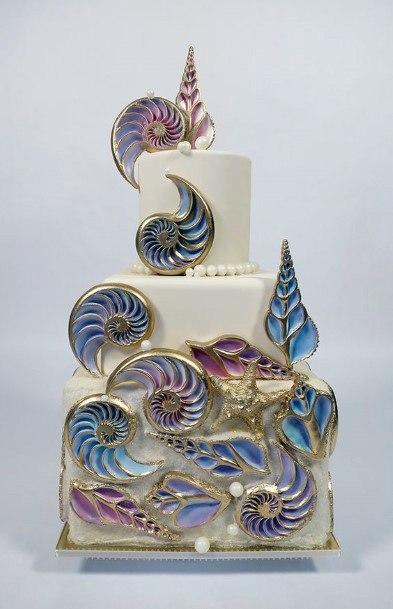 Metallic Conches Beach Wedding Cake Women