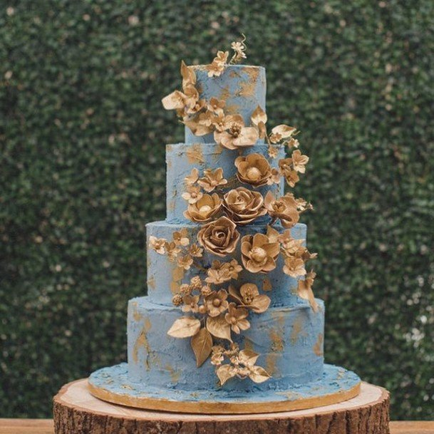 Metallic Florals On Blue Buttercream Wedding Cake
