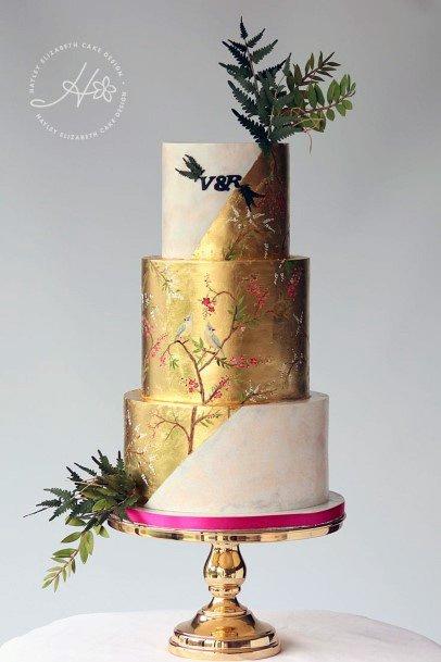 Metallic Gold Elegant Wedding Cake Women
