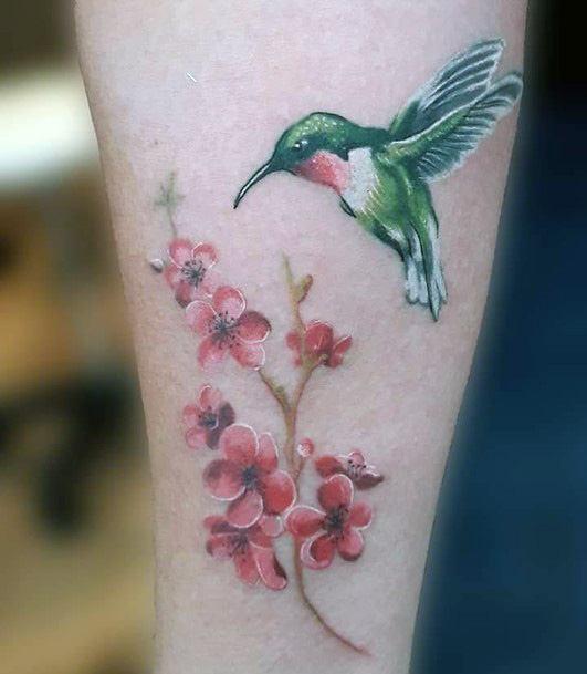 Metallic Green Hummingbird Tattoo With Blossoms Tattoo Women Art