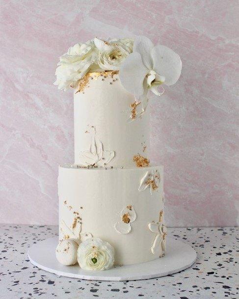 Metallic Rose Gold Flaked White Wedding Cake