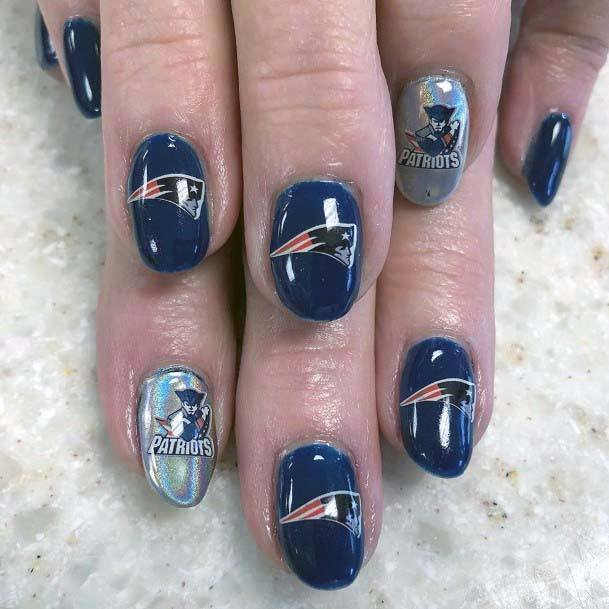 Metallic Tinted Sport Nails For Women New England Patriots