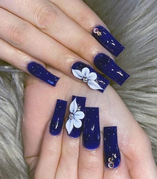 Midnight Blue 3d Flower Nails White Women