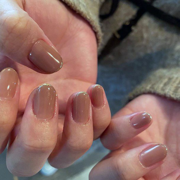 Milk Chocolate Brown Painted Nails For Women