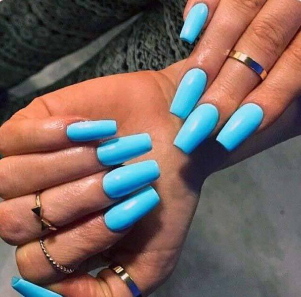 Milky Blue Bright Nails For Women